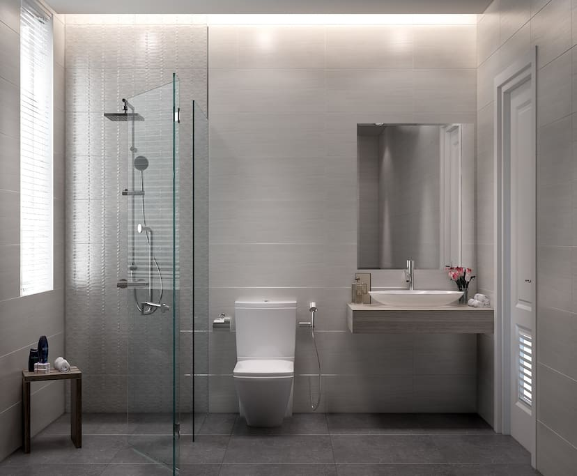 Bathroom from 3D design. I will update the real photo later. It's about 98% in real. I don't have a right corner to take photo with good view for you guys.