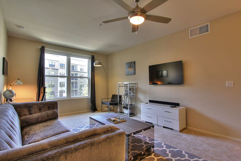 """Living area includes a 42"""" HD TV, cable, WiFi & bluetooth soundsystem"""