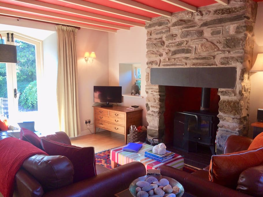 Cosy lounge with wood burning stove