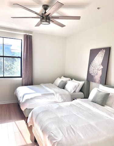 The second bedroom has two full beds, memory foam mattresses and luxury linens.