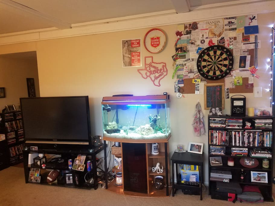 Living room with dart board