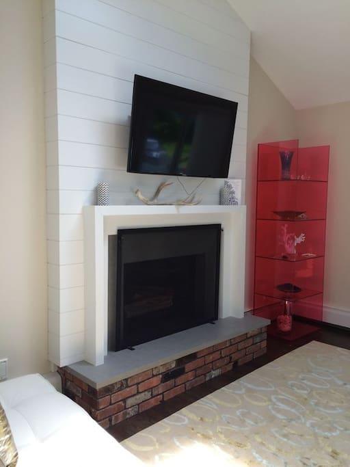 TV over Wood-Burning Fireplace