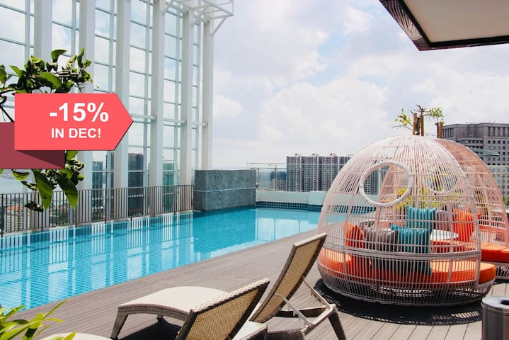 ♥High Floor Suasana JB  2203 with Balcony + WiFi♥