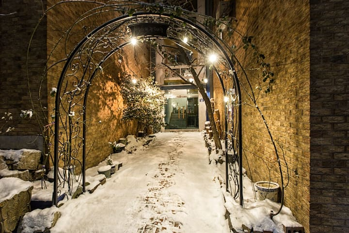 Entrance with snow