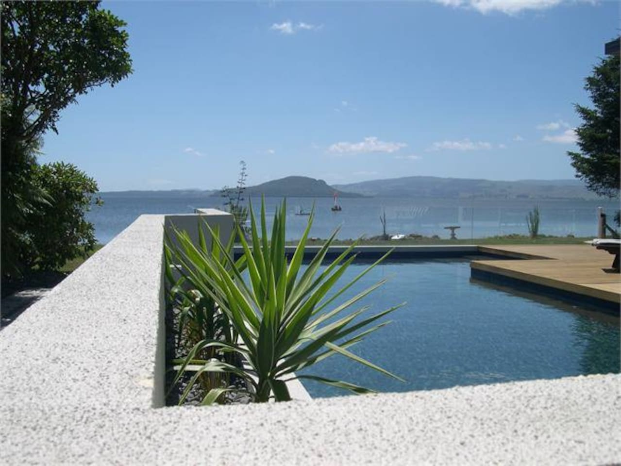 looking out over the pool as you walk down to the lake