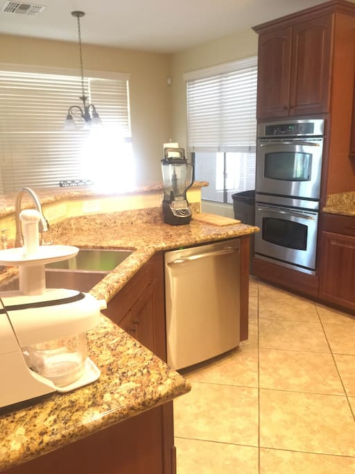 Kitchen- Microwave, stainless steel appliances, Granite countertops