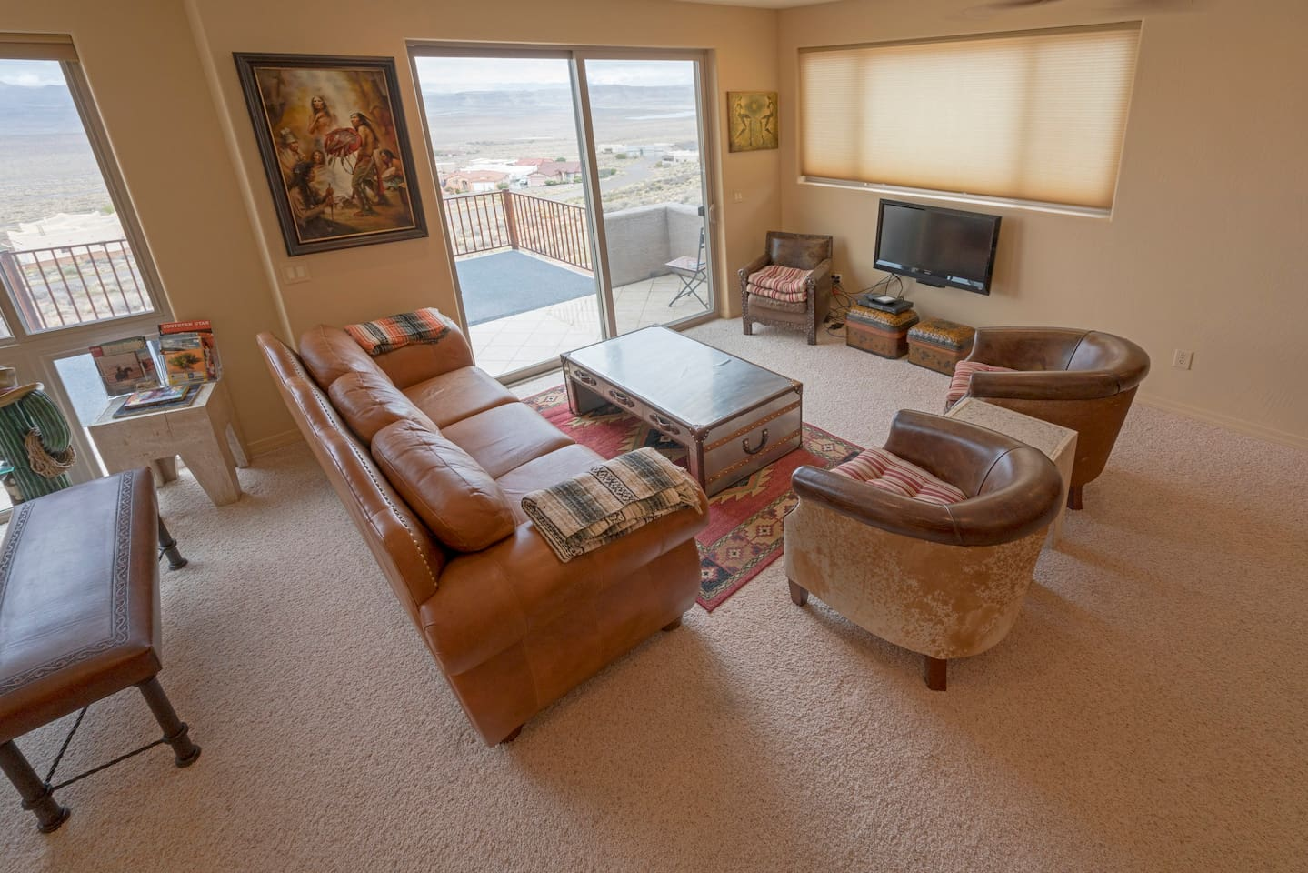 Living area with access to upper level