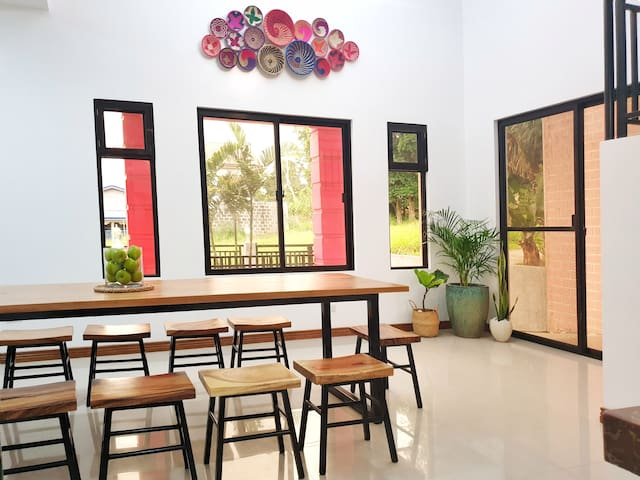 The house was designed with numerous windows for our visitors to feel the Tagaytay cool breeze! Check out the African baskets that were bought from Tanzania!