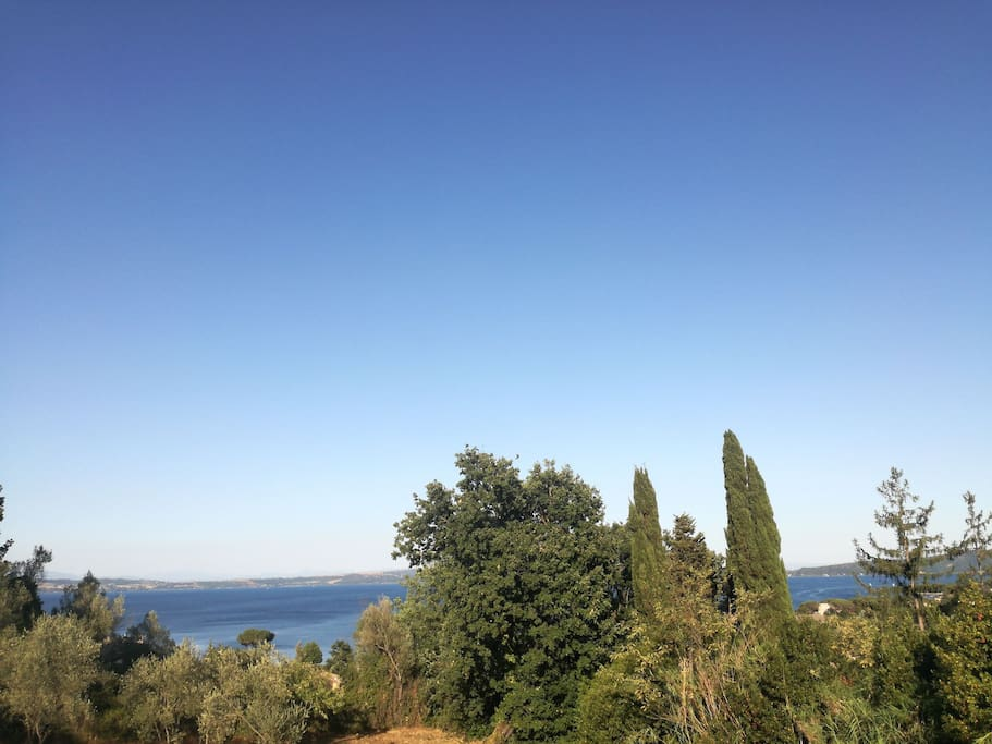 View of the lake of bracciano from the entrance door