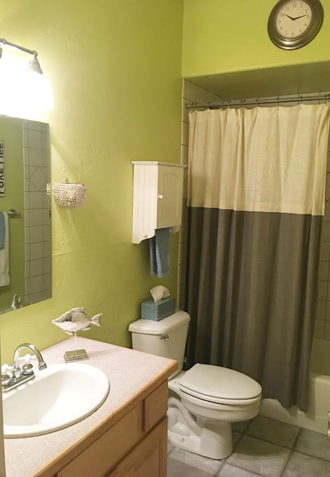 Your own private bath, with tub and shower, next to your bedroom.
