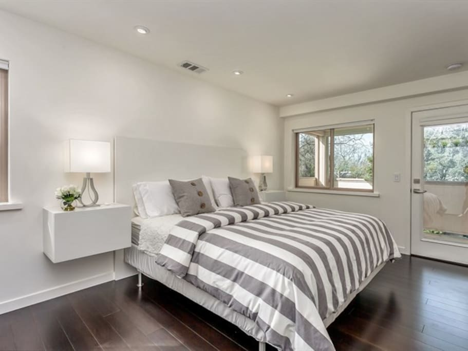King Size Bed; down comforter; private bath