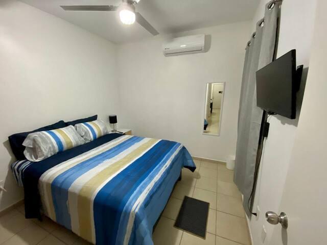Recámara 4 (planta baja), A/C, T.V. con Roku, ventilador de techo, clóset completo y espejo.