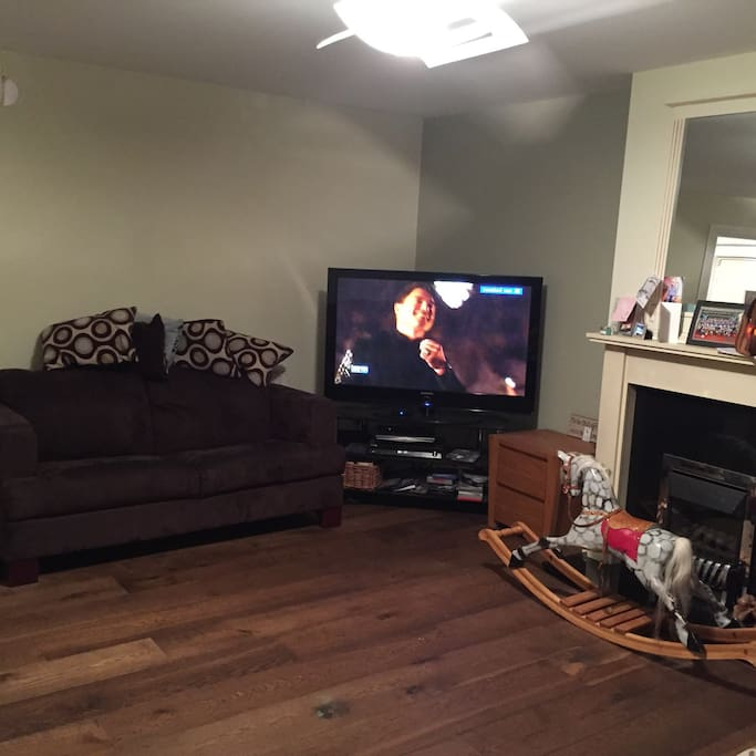 Large tv - with sky/Netflix/DVDs - with lots of toys as we have a 7 year old boy