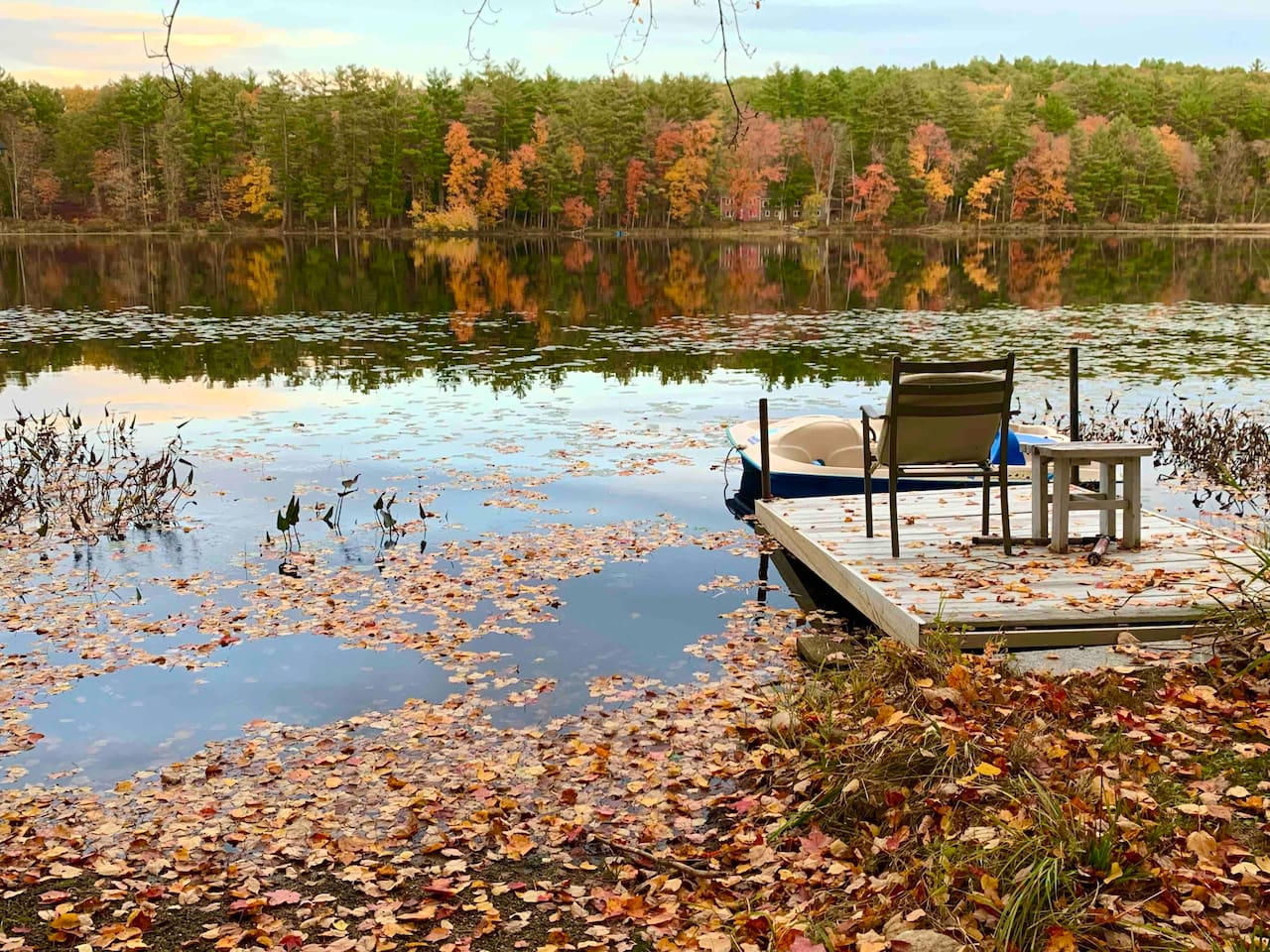 Sit on the dock and relax in Snow Pond. Serene and beautiful views.
