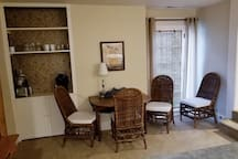 Dining area with seating for 4 people. Have a relaxing breakfast with coffee from your Keurig coffee maker.