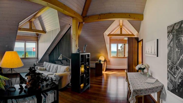 Splendid loft in villa with indoor pool.