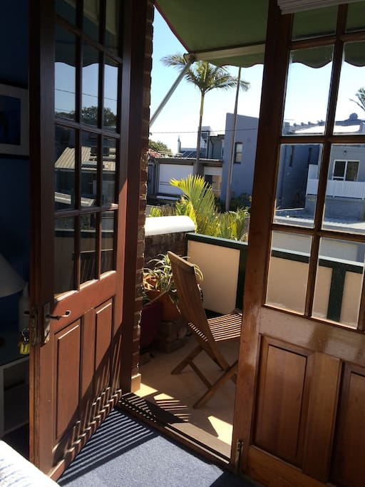 Balcony with awning