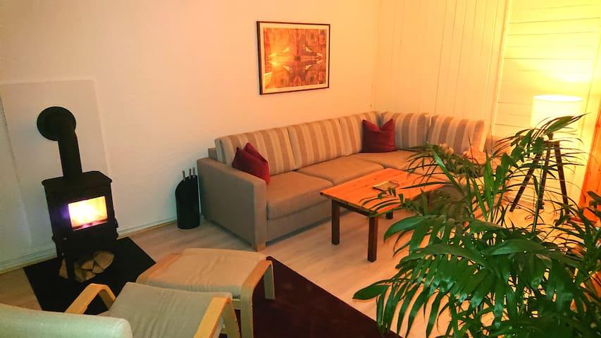 Wohnzimmer mit großzügiger Schlafcouch und Kaminofen.