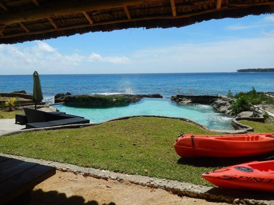 Waterfront ocean fed pool and your very own coral reef - South Pacific living at its best