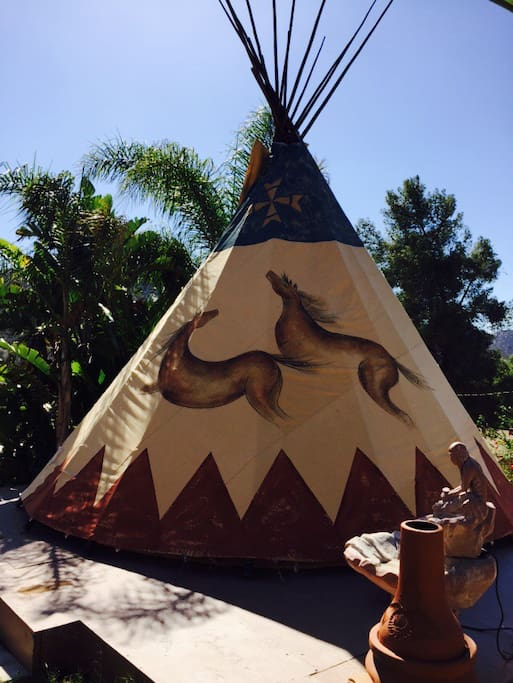 Our new tipi cover depicting frolicking horses, replaced the original in September, 2015.
