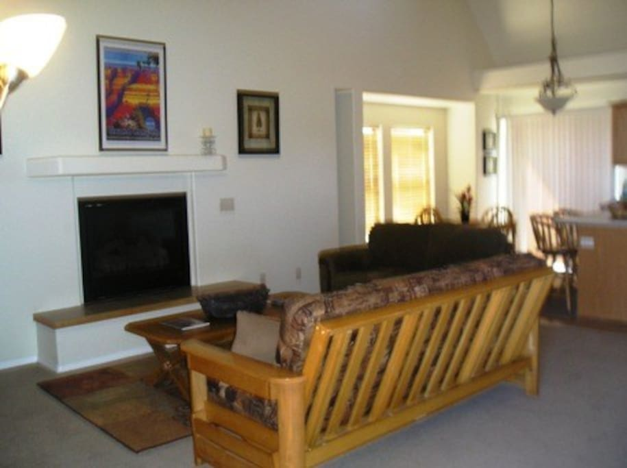 Great Room with Gas Fireplace - Full size Futon Sleeper