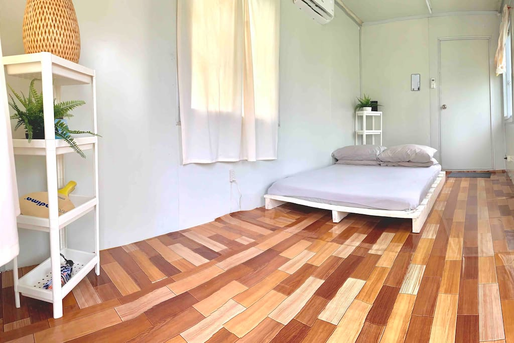 The tiny houses is simple yet functional, it's got air conditioning, mood lighting, USB charging and an electric fan what more do you need in paradise!