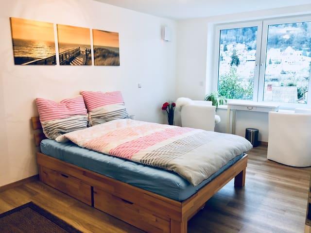 Neu renoviertes Zimmer mit Neckar- und Gartenblick