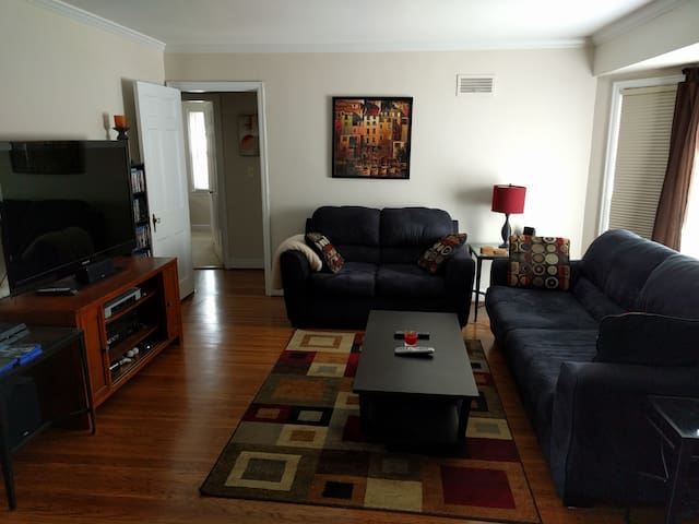 """Spacious living room, two couches, 55"""" tv"""