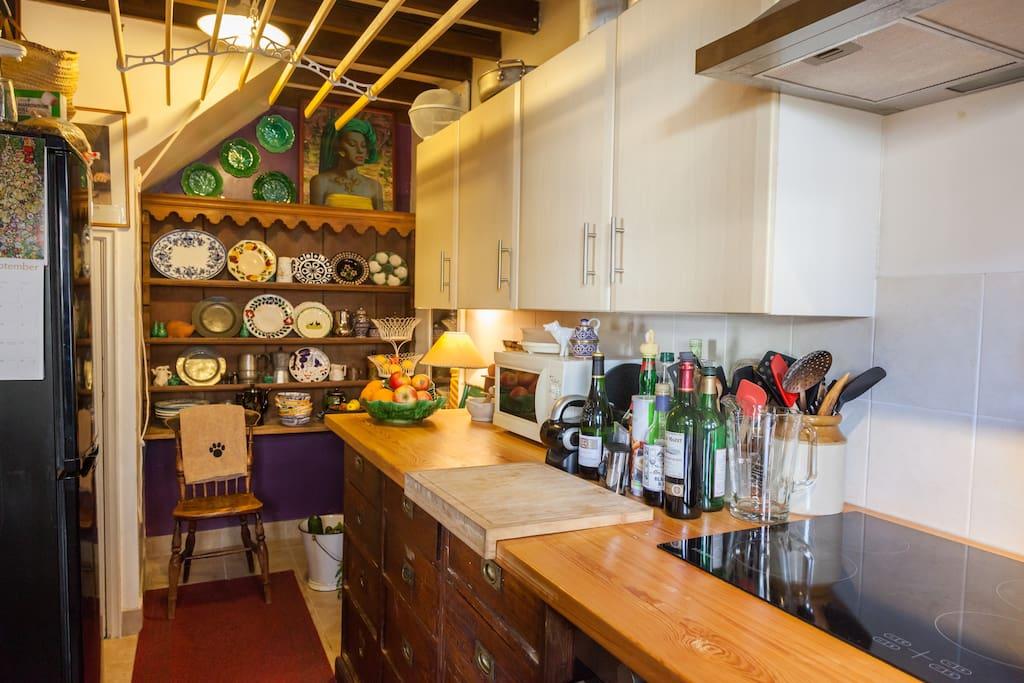 The vintage galley kitchen