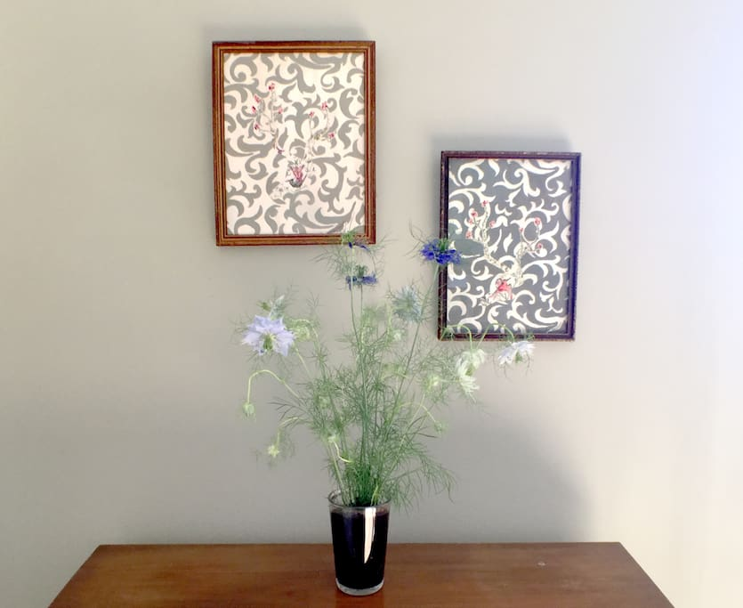 Paintings made with frames from the local second hand stores