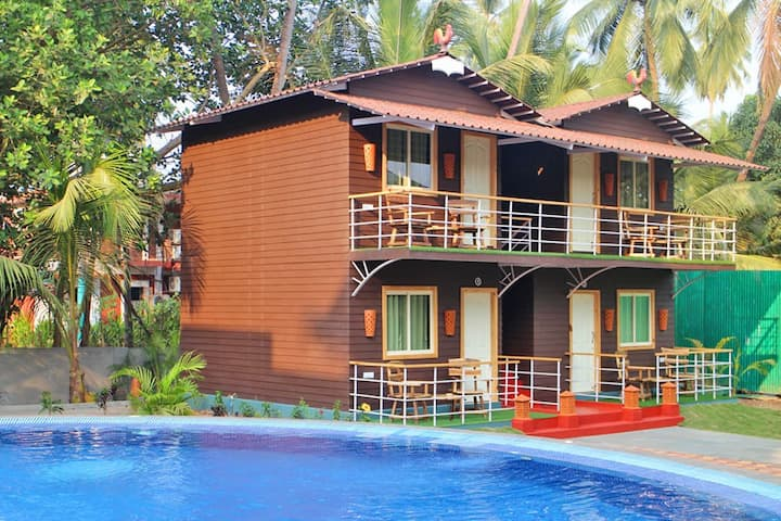 Deluxe Boutique Cottages wt Pool in Calangute Goa