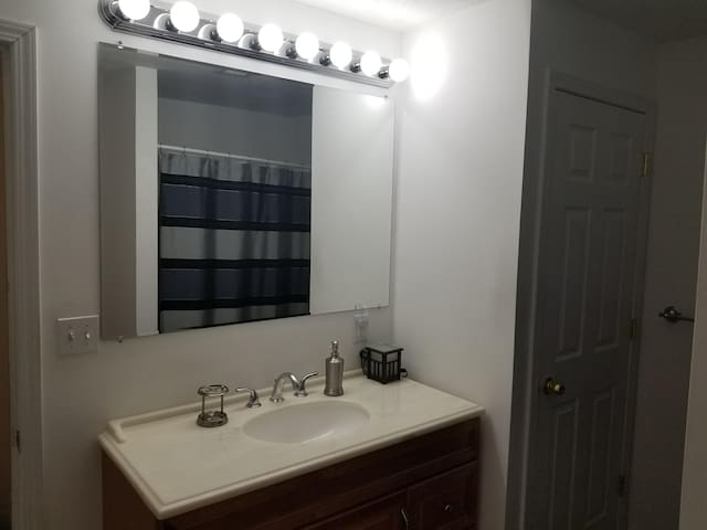 Large sized vanity with high intensity bulbs that are controlled by a dimmer switch. Storage available in the door pictured to left of sink.
