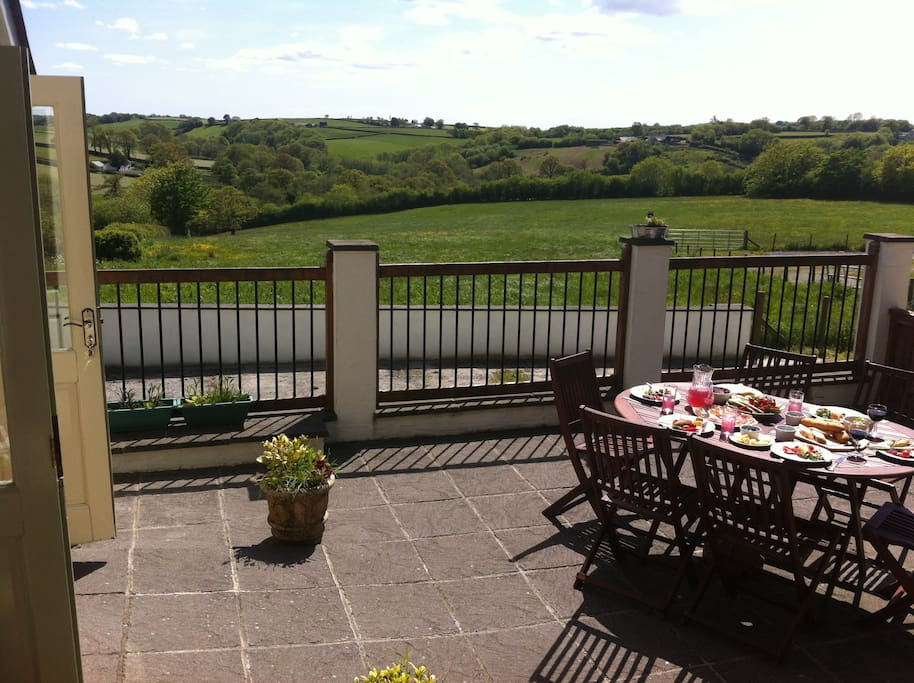 Enjoy the view and your meals on suntrap patio