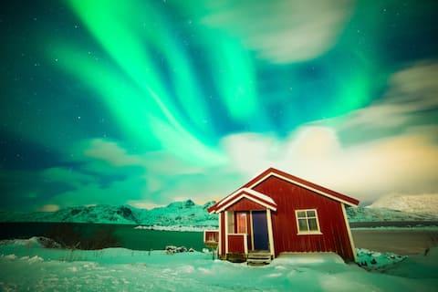 Lofoten; Hytte i vakre omgivelser.