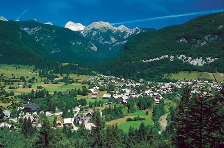 Stara Fužina village nestled under the mountains