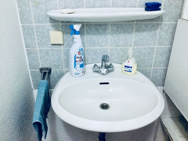 A basin is in the room so no need to go outside for washing hand, face or foods etc.