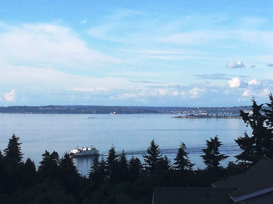 Part of the gorgeous view from this home. Watch the ferries on the Sound.
