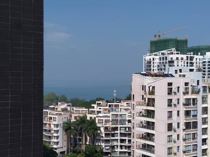 13楼公寓朝南电梯两房(小卧室可看到点海景)