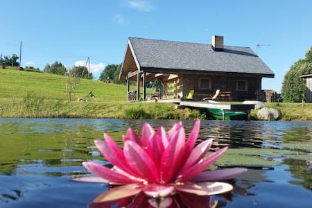 House for a family by the lake with sauna