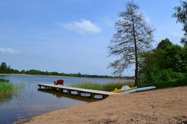 Mazury domek  plaża jezioro Szóstak Ełk Orzechowo