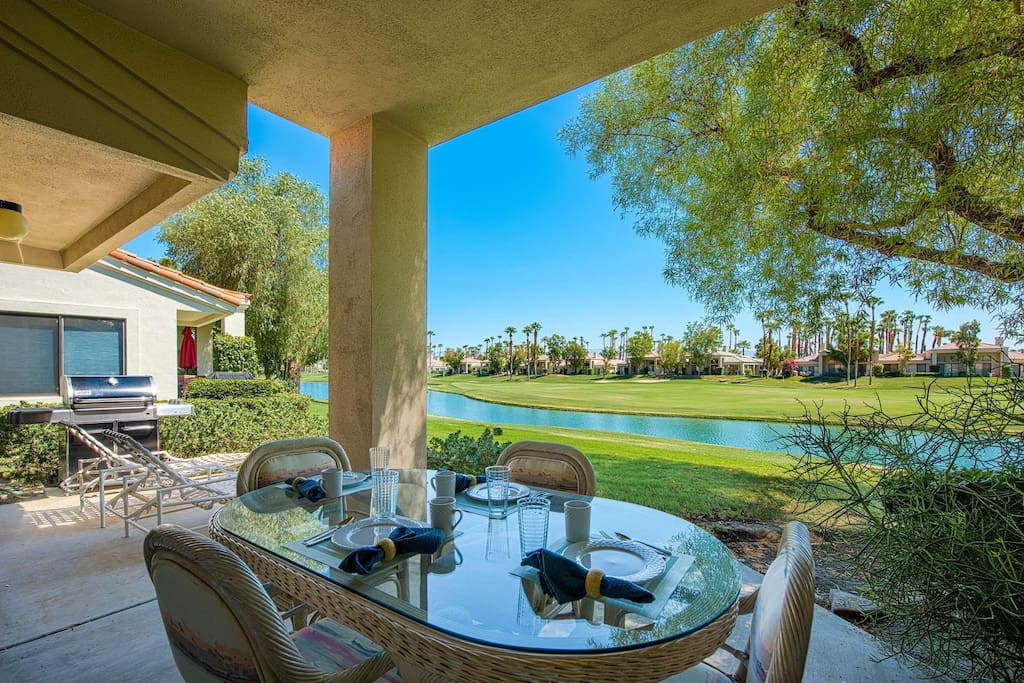 Outdoor Dining Area with View and Gas BBQ Available for Cooking