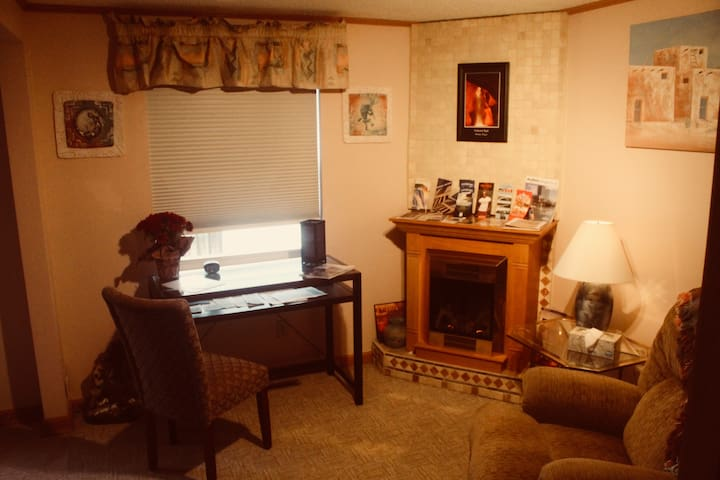 Sitting room with desk