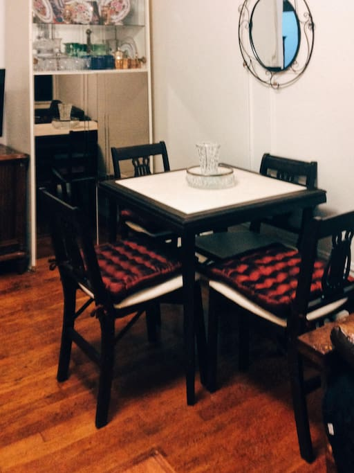 Second living room table, set aside specifically for guests.