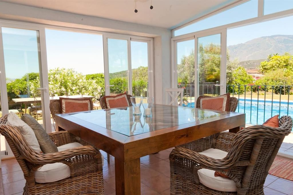 Inside dining area - just off the kitchen with views over the pool