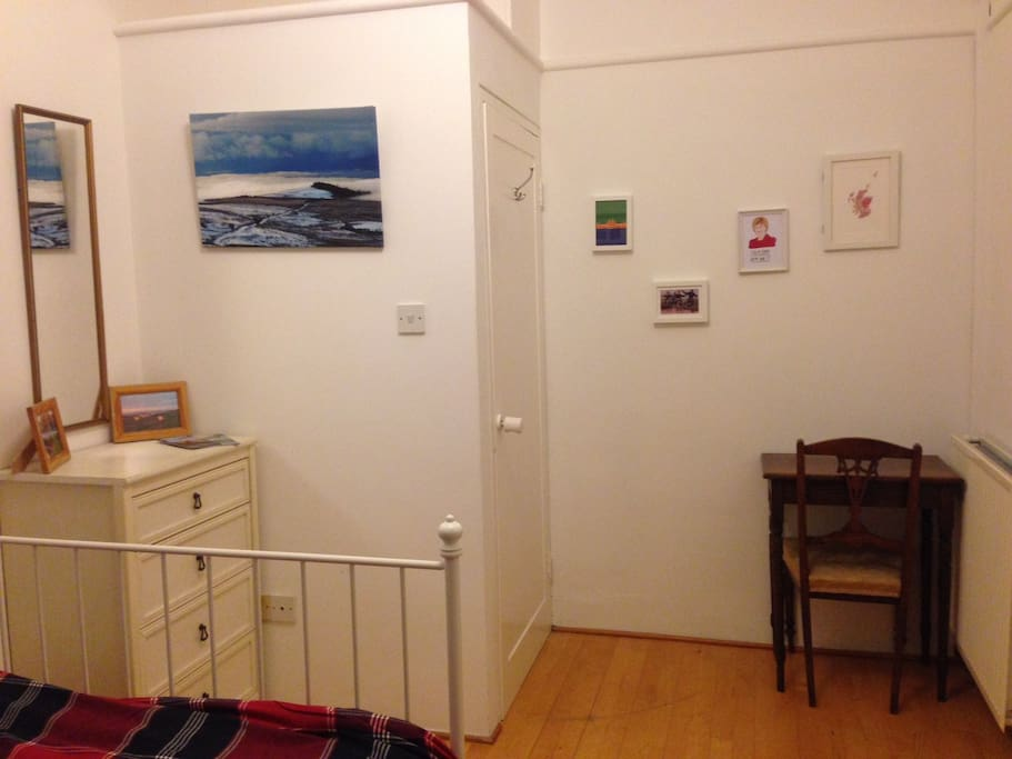 Chest of drawers and desk for use, as well as lots of pictures of bonnie Scotland :)