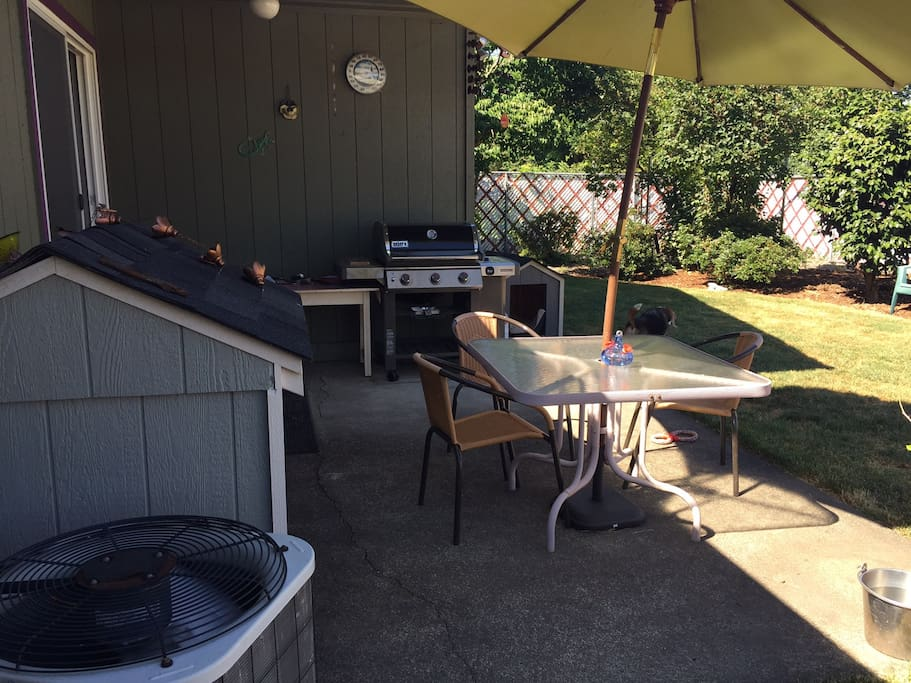 Large fenced backyard with gas BBQ
