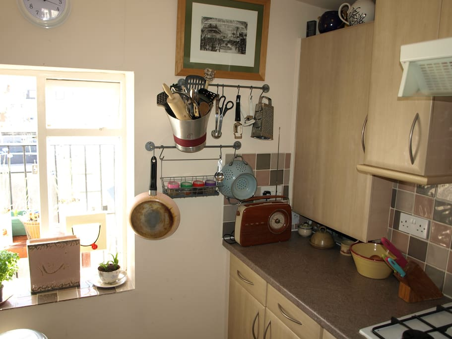 Sun filled kitchen with everything you need to make those picnics for the beach or breakfast in bed