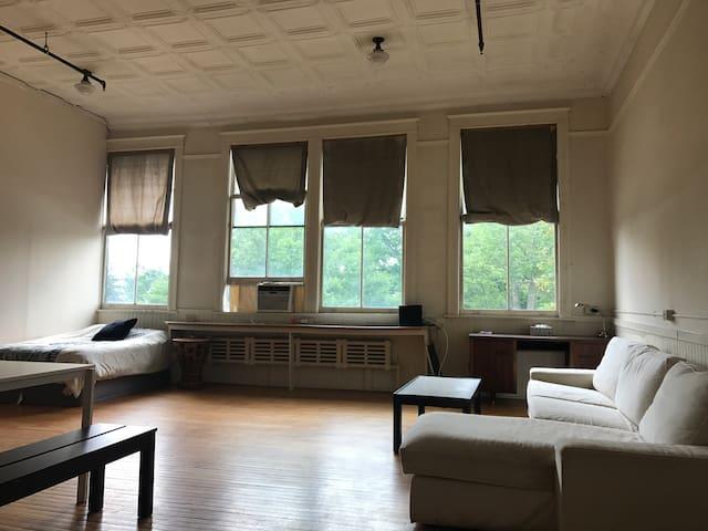 13ft tin ceilings spacious studio, natural light!