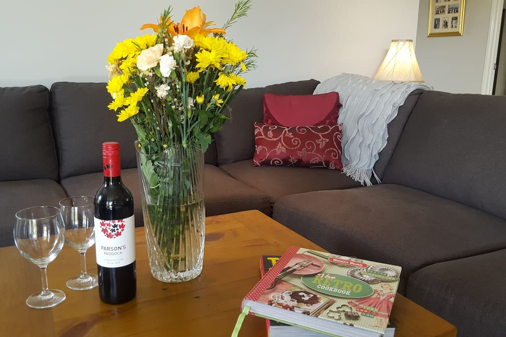 Relax in the communal living space curled up with a book and a glass a wine or choose from one of our many DVDs.