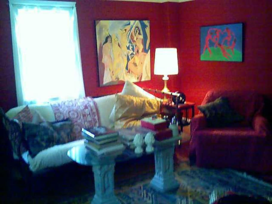 the red room, extra sleeping futon, first floor